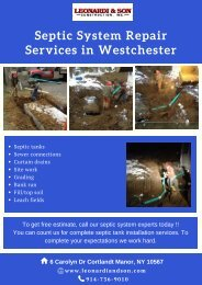 Westchester NY Septic System Repair Services