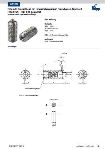 K0329 Federnde Druckstücke mit Innensechskant und ... - KIPP