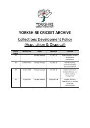 YORKSHIRE CRICKET ARCHIVE - COLLECTIONS DEVELOPMENT POLICY (Final)