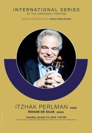 January 15, 2019—CAMA presents Itzhak Perlman, violin—International Series at The Granada Theatre, Santa Barbara