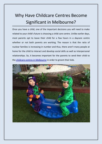Why Have Childcare Centres Become Significant in Melbourne?