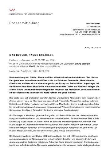 Ausstellung Max Dudler. Räume erzählen., Ungers Archiv für Architekturwissenschaft