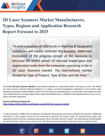 2D Laser Scanners Market 2025 Opportunities, Applications, Drivers, Challenges, Types, Countries, & Forecast