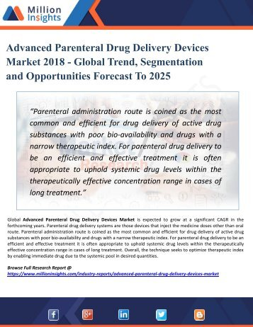 Advanced Parenteral Drug Delivery Devices Market Research Key Players, Industry Overview, Supply Chain and Analysis 2018 – 2025