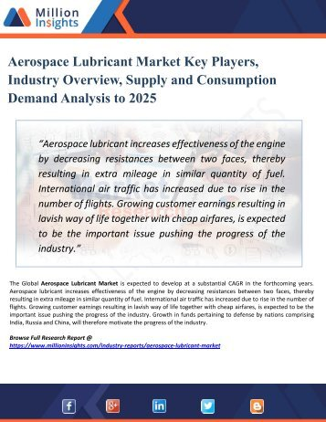 Aerospace Lubricant Market Research – Industry Analysis, Growth, Size, Share, Trends, Forecast to 2025