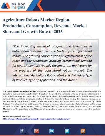 Agriculture Robots Market Report Overview - Competitive insights, Key Futuristic Trends and Opportunities 2025