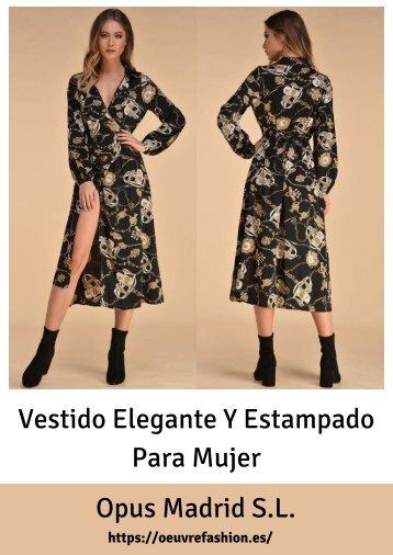 Vestido Elegante Y Estampado Para Mujer