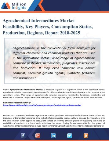 Agrochemical Intermediates Market Research: Growth Opportunities by Regions, Types, Applications, Trend Forecast to 2025
