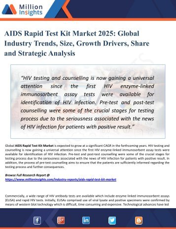 AIDS Rapid Test Kit Market Analysis by Product Types, Marketing Channel Development Trend, Market Effect Factors Analysis by 2025