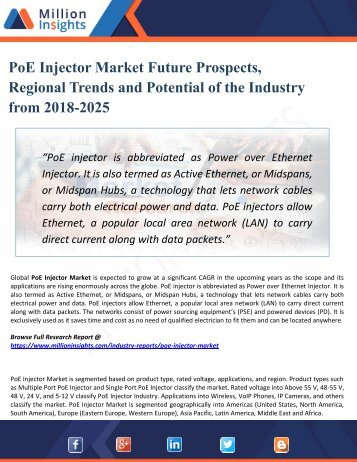 PoE Injector Market Perspective, Comprehensive Analysis, Size, Share, Growth, Segment, Trends and Forecast 2025
