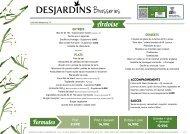 Menu Brasserie Desjardins - janvier 2019