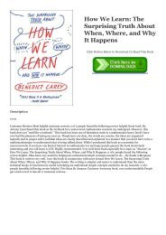 ePub Download How We Learn: The Surprising Truth About When, Where, and Why It Happens Online Books | READ ONLINE