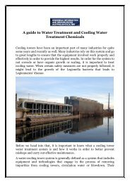 A guide to Water Treatment and Cooling Water Treatment Chemicals