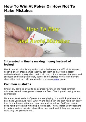 How To Win At Poker Or How Not To Make Mistakes
