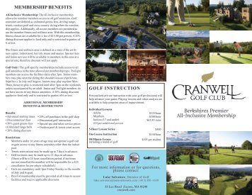 Cranwell Golf Memberships 2019