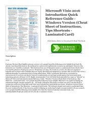 EPUB$ Microsoft Visio 2016 Introduction Quick Reference Guide - Windows Version (Cheat Sheet of Instructions, Tips   Shortcuts - Laminated Card) Ebook READ ONLINE