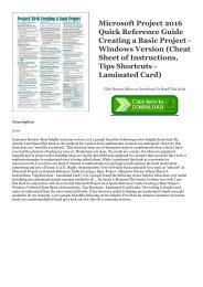 Download [PDF] Microsoft Project 2016 Quick Reference Guide Creating a Basic Project - Windows Version (Cheat Sheet of Instructions, Tips   Shortcuts - Laminated Card) EBOOK #pdf