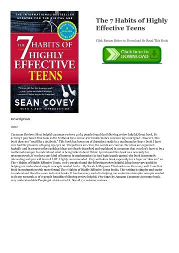 ~!PDF The 7 Habits of Highly Effective Teens #*BOOK Sean Covey
