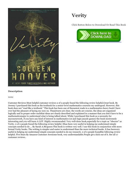 PDF Verity @~EPub Colleen Hoover