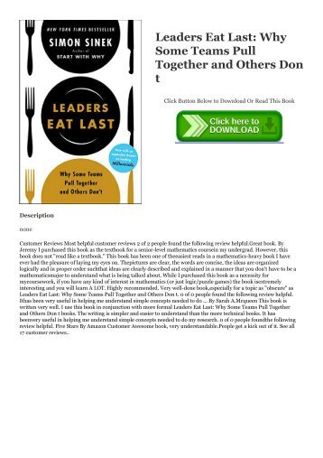 !$PDF Leaders Eat Last: Why Some Teams Pull Together and Others Don t ~*EPub Simon Sinek