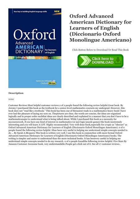 READ-PDF!) Oxford Advanced American Dictionary for Learners