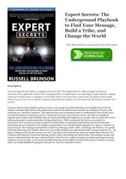 DOWNLOAD Expert Secrets: The Underground Playbook to Find Your Message, Build a Tribe, and Change the World EBOOK #pdf