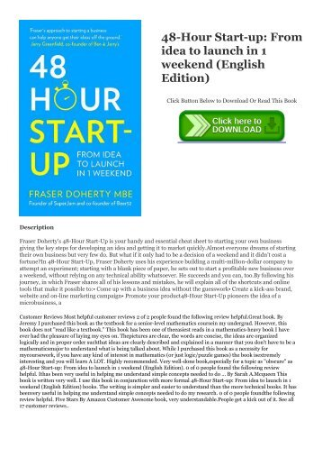 [ PDF ] 48-Hour Start-up: From idea to launch in 1 weekend (English Edition) BOOK ONLINE #Mobi