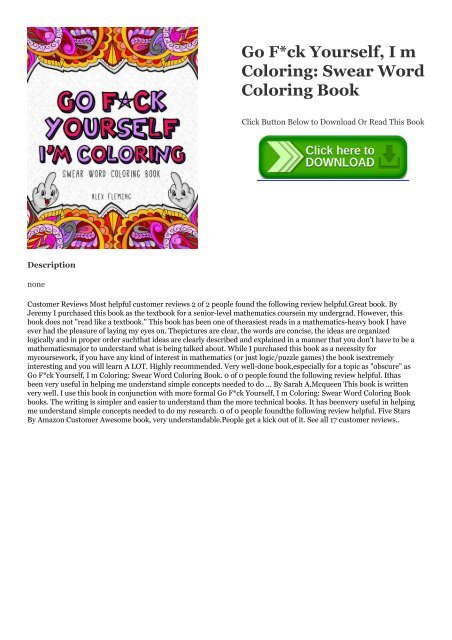 PDF (Go F*ck Yourself, I M Coloring: Swear Word Coloring Book) !BOOK Alex  Fleming