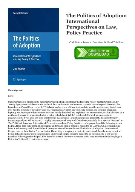 The Politics of Adoption Policy /& Practice International Perspectives on Law