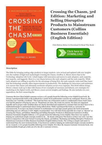 textbook$ Crossing the Chasm, 3rd Edition: Marketing and Selling Disruptive Products to Mainstream Customers (Collins Business Essentials) (English Edition) [R.A.R]