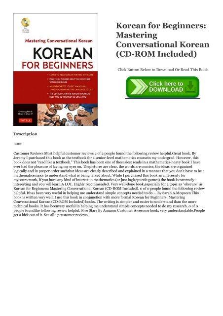 Korean for Beginners CD-ROM Included Mastering Conversational Korean