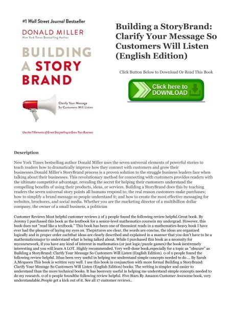 Pdf Download Building A Storybrand Clarify Your Message So Customers Will Listen English Edition Kindle