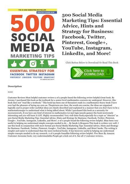Download [ebook]$$ 500 Social Media Marketing Tips: Essential ...