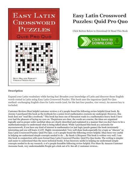 R E A D Book Easy Latin Crossword Puzzles Quid Pro Quo