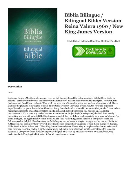 DOWNLOAD FREE Biblia Bilingue / Bilingual Bible: Version Reina