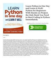 (READ-PDF!) Learn Python in One Day and Learn It Well: Python for Beginners With Hands-on Project. the Only Book You Need to Start Coding in Python Immediately read online