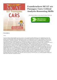 R.E.A.D. [BOOK] Examkrackers MCAT 101 Passages: Cars: Critical Analysis   Reasoning Skills DOWNLOAD @PDF
