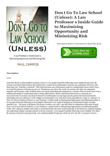 Pdf-Download-eBook-Free-Don-t-Go-To-Law-School-Unless--A-Law-Professor-s-Inside-Guide-to-Maximizing-Opportunity-and-Minimizing-Risk-DOWNLOAD-EBOOK-PDF-KINDLE