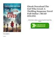 Ebook Download The Girl Who Lived: A Thrilling Suspense Novel Full Online | READ ONLINE