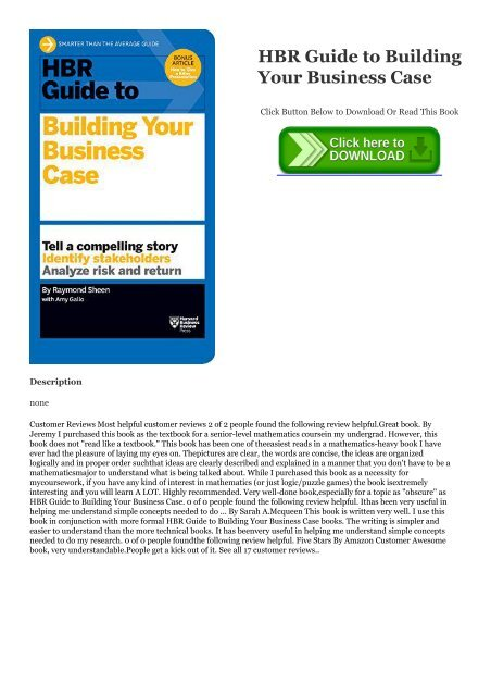 Ebook] Download HBR Guide to Building Your Business Case