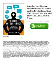 Full Book Positive Intelligence: Why Only 20% of Teams and Individuals Achieve Their True Potential and How You Can Achieve Yours Full Ebook | READ ONLINE