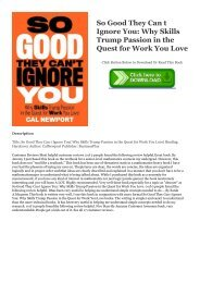 Pdf Download eBook Free So Good They Can t Ignore You: Why Skills Trump Passion in the Quest for Work You Love PDF Books