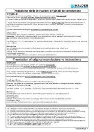 Traduzione delle istruzioni originali del produttore Translation of ...