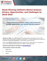 Route Planning Software Market Analysis Drivers, Opportunities, and Challenges by 2018-2025