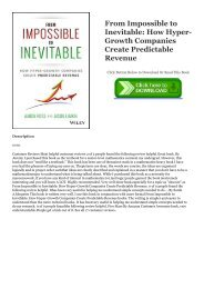 [ PDF ] Ebook From Impossible to Inevitable: How Hyper-Growth Companies Create Predictable Revenue Unlimited