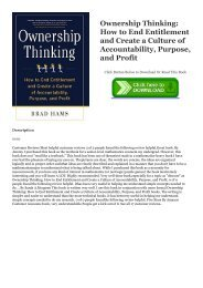 READ Ownership Thinking:  How to End Entitlement and Create a Culture of Accountability, Purpose, and Profit EBOOK #pdf