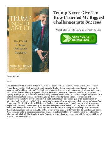 textbook$ Trump Never Give Up: How I Turned My Biggest Challenges into Success the ^DOWNLOAD E.B.O.O.K.#