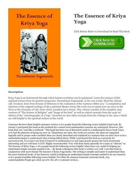 Ebook Epub The Essence Of Kriya Yoga Ebook Pdf