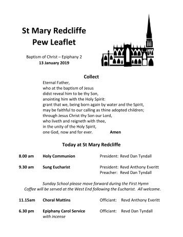 St Mary Redcliffe Church Pew Leaflet - January 13 2019
