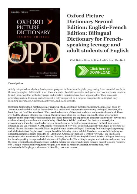 R E A D  [BOOK] Oxford Picture Dictionary Second Edition
